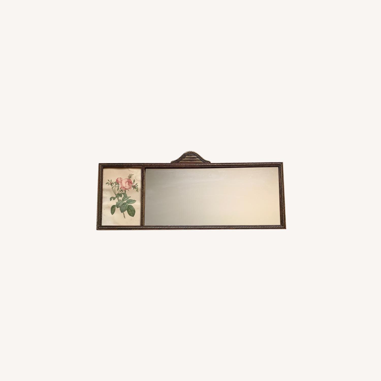Antique Delicate Wood Framed Rose Print Mirror - image-0