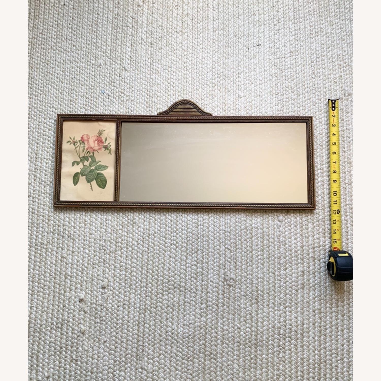 Antique Delicate Wood Framed Rose Print Mirror - image-1