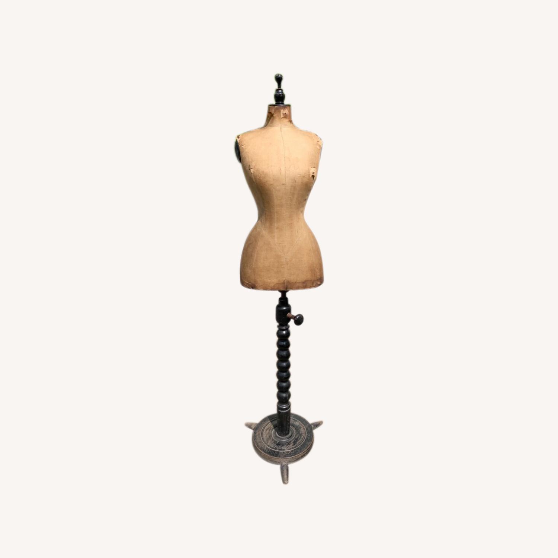 Antique Dress Form with Black Wooden Base - image-0