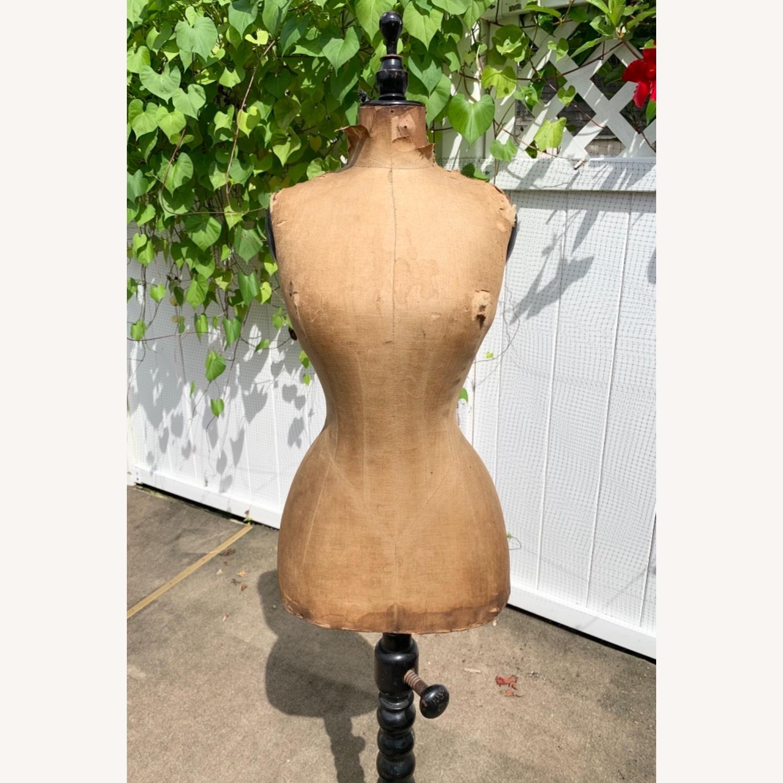 Antique Dress Form with Black Wooden Base - image-2