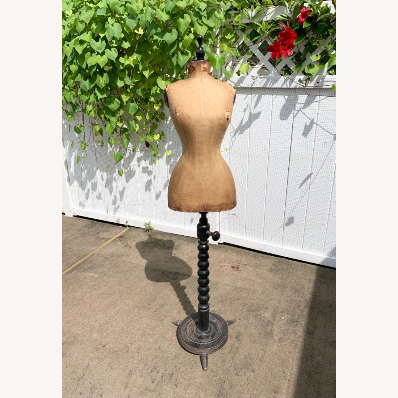Antique Dress Form with Black Wooden Base - image-1
