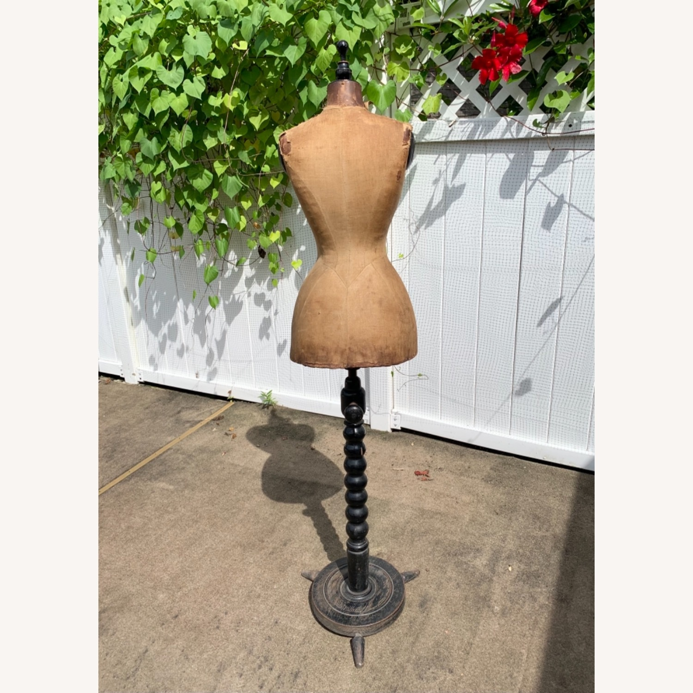 Antique Dress Form with Black Wooden Base - image-3