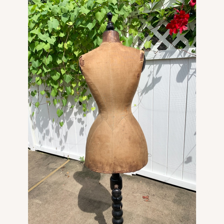 Antique Dress Form with Black Wooden Base - image-4