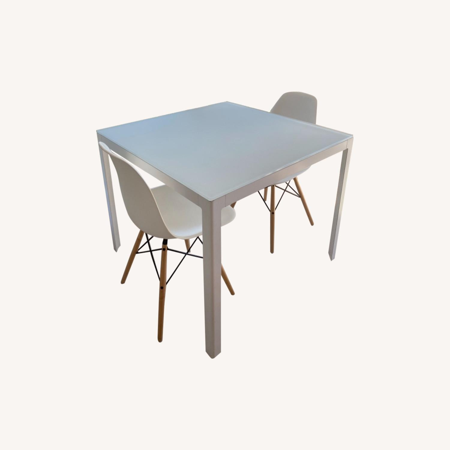 Design Within Reach White Table with 2 Eames Chairs - image-0