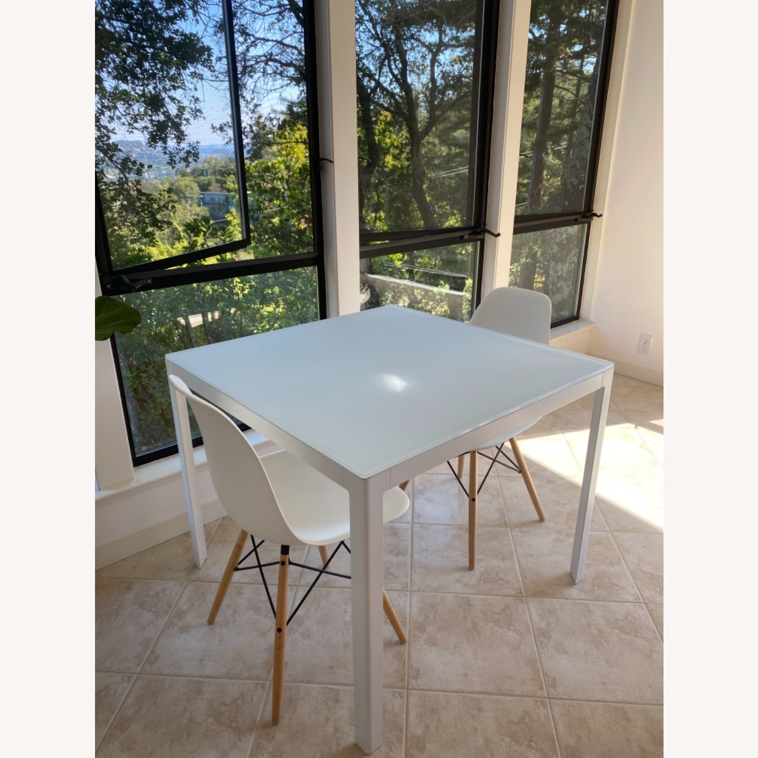 Design Within Reach White Table with 2 Eames Chairs - image-1