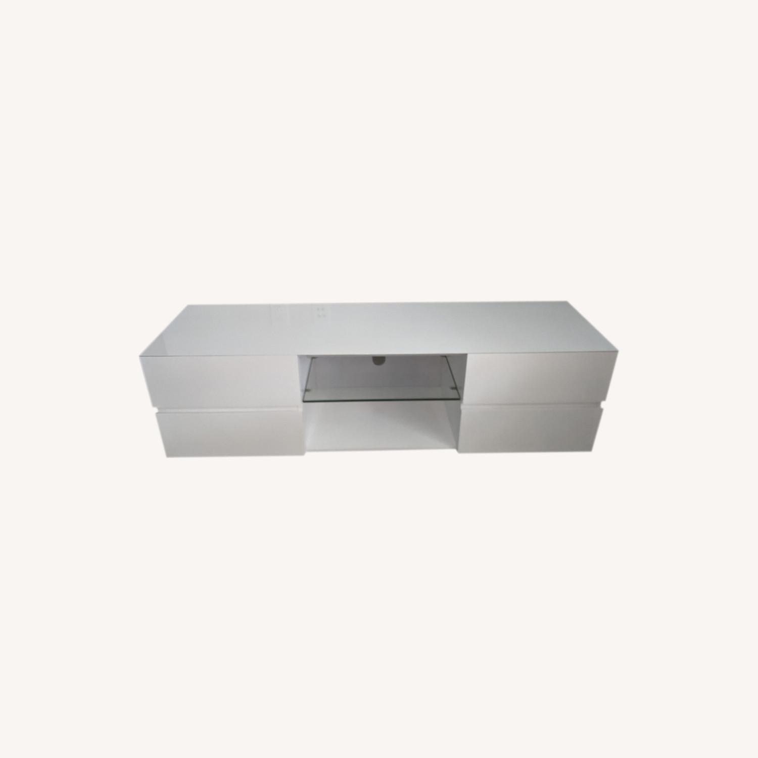 Glossy White Media Console with Glass Shelf - image-0