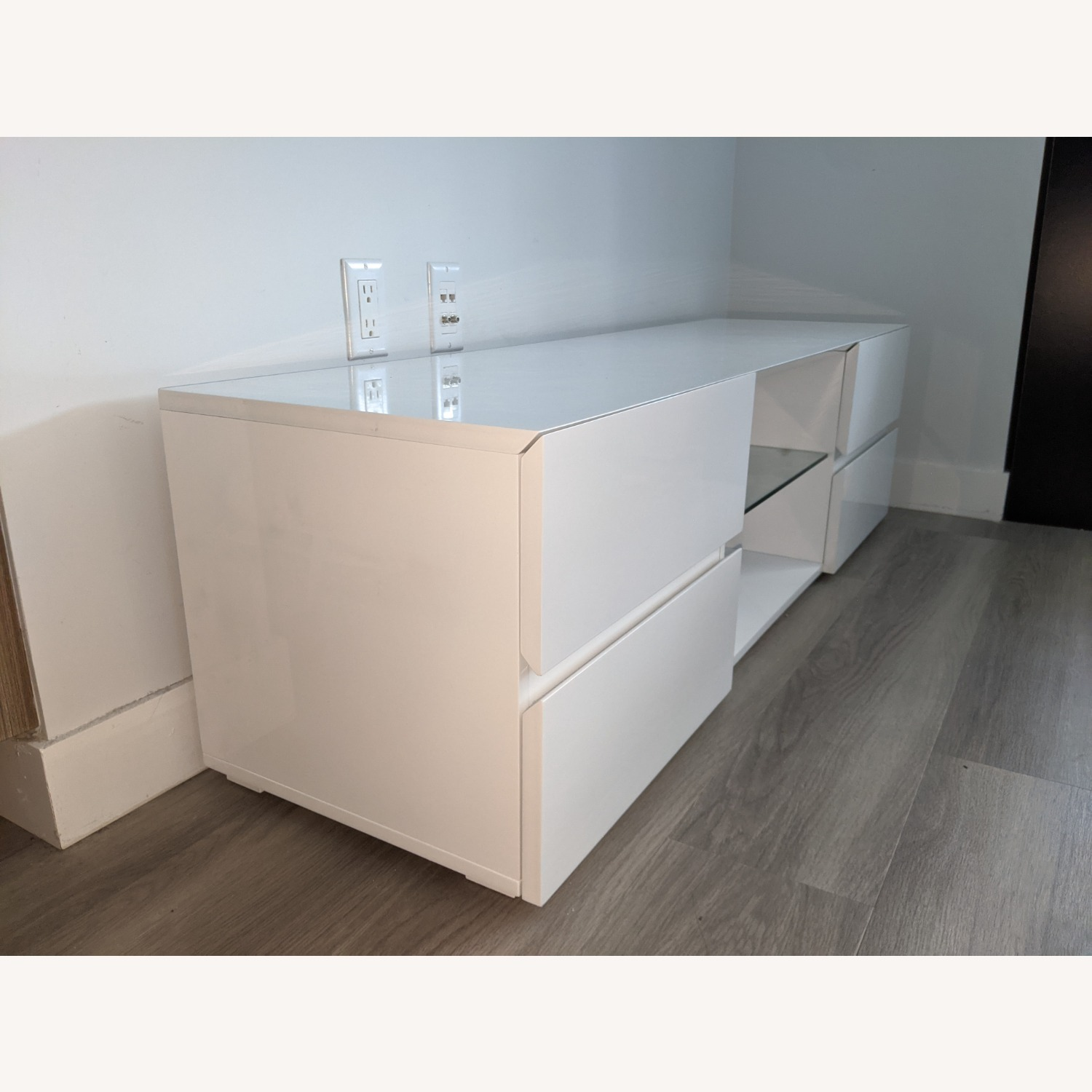 Glossy White Media Console with Glass Shelf - image-2