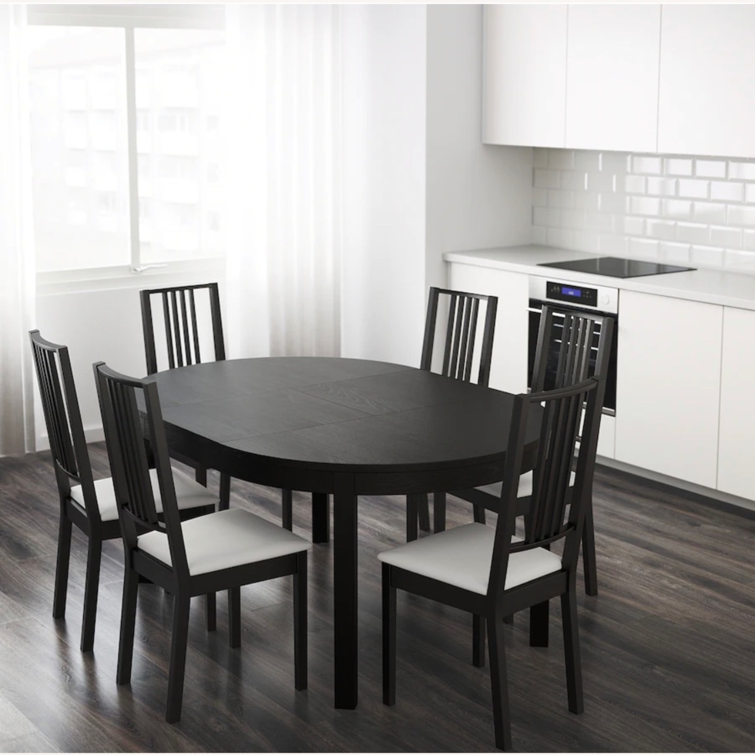 IKEA Dining Set - BJURSTA Table with INGOLF Chairs - image-6