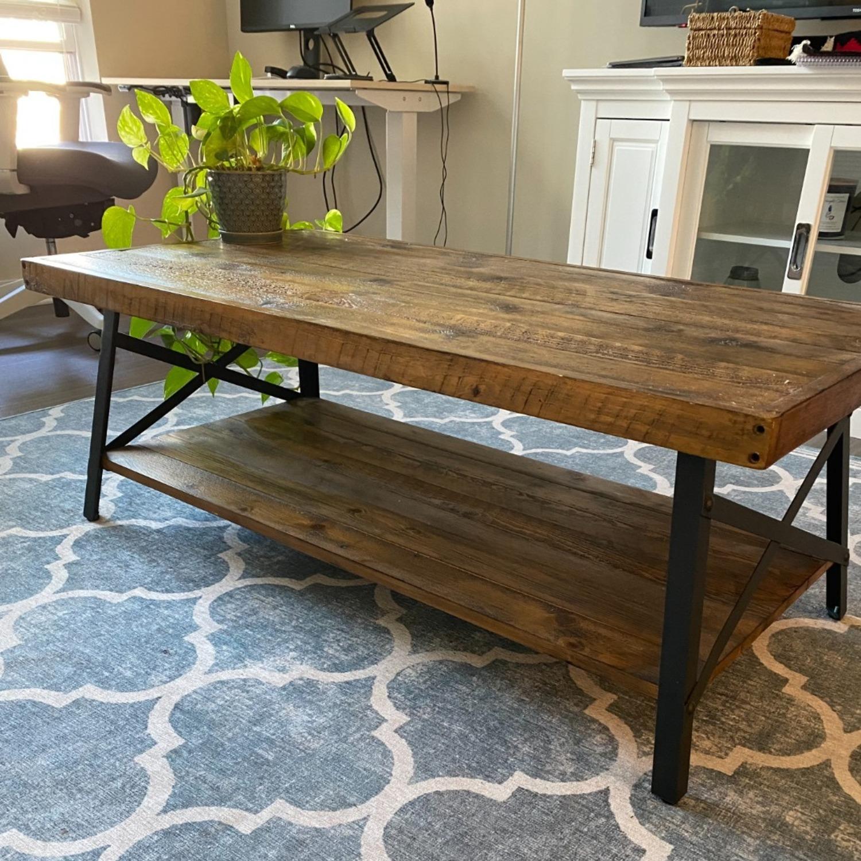 Wood and Metal Coffee Table - image-1