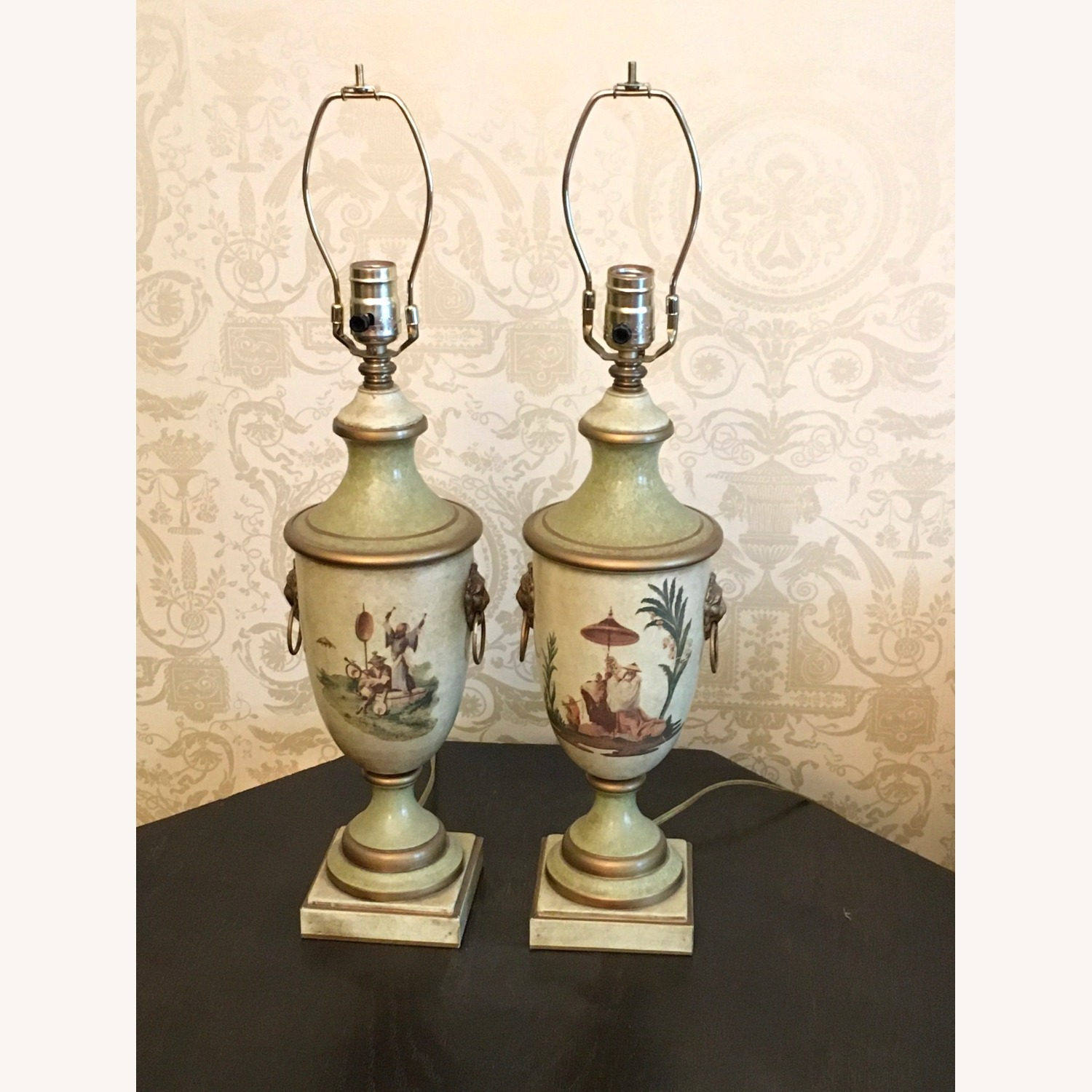 Pair of Hand Painted Asian Theme Toleware Lamps - image-0