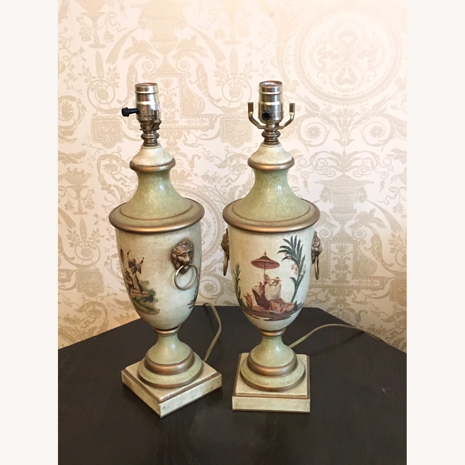 Pair of Hand Painted Asian Theme Toleware Lamps - image-1