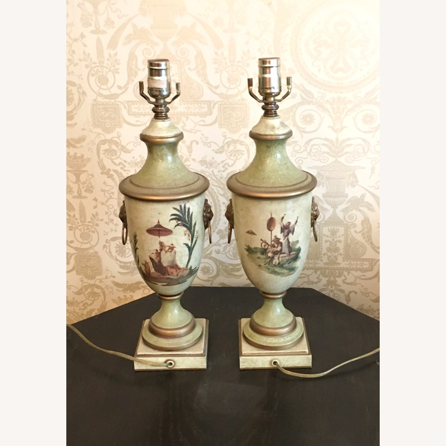 Pair of Hand Painted Asian Theme Toleware Lamps - image-3