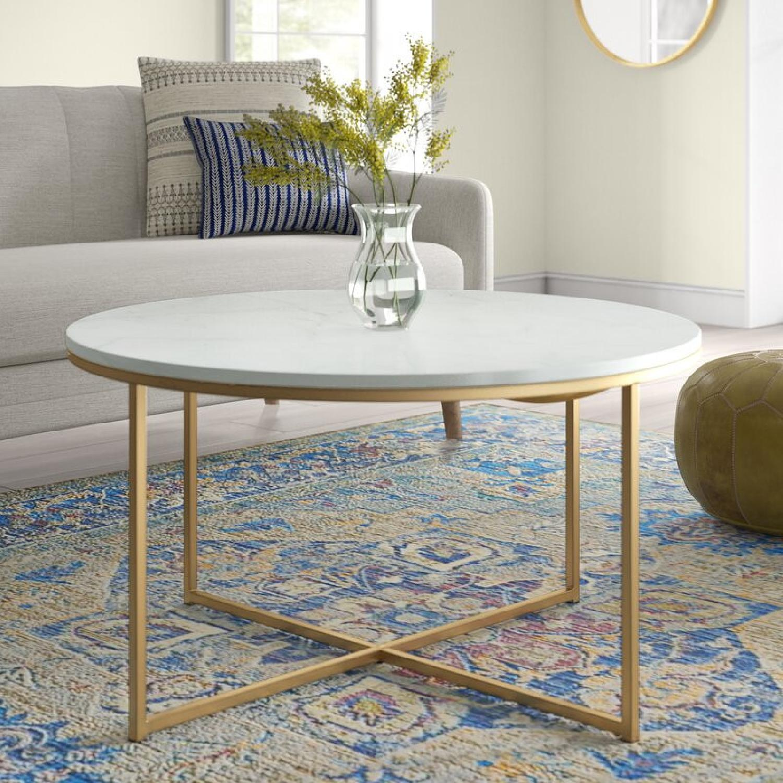 Wayfair White & Gold Cross Legs Coffee Table - image-4