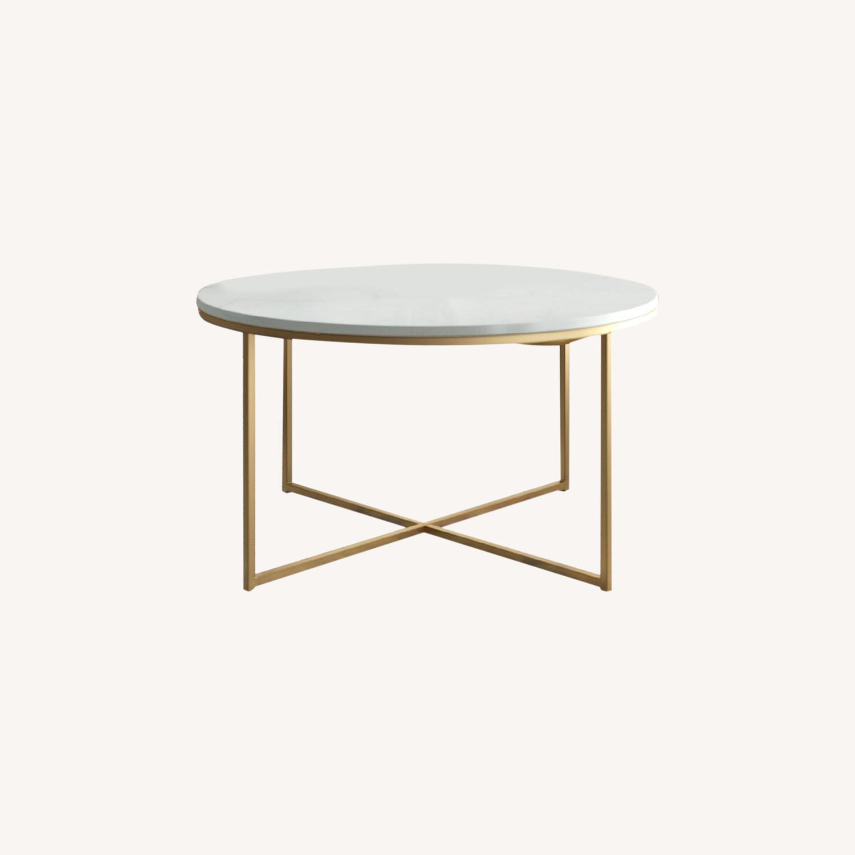 Wayfair White & Gold Cross Legs Coffee Table - image-0