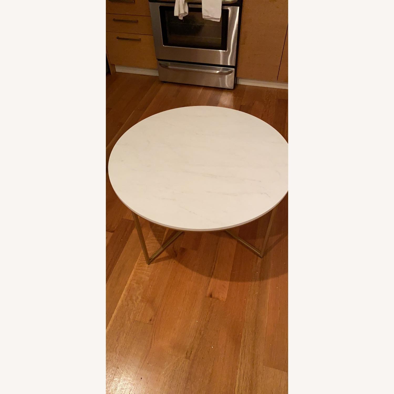 Wayfair White & Gold Cross Legs Coffee Table - image-1