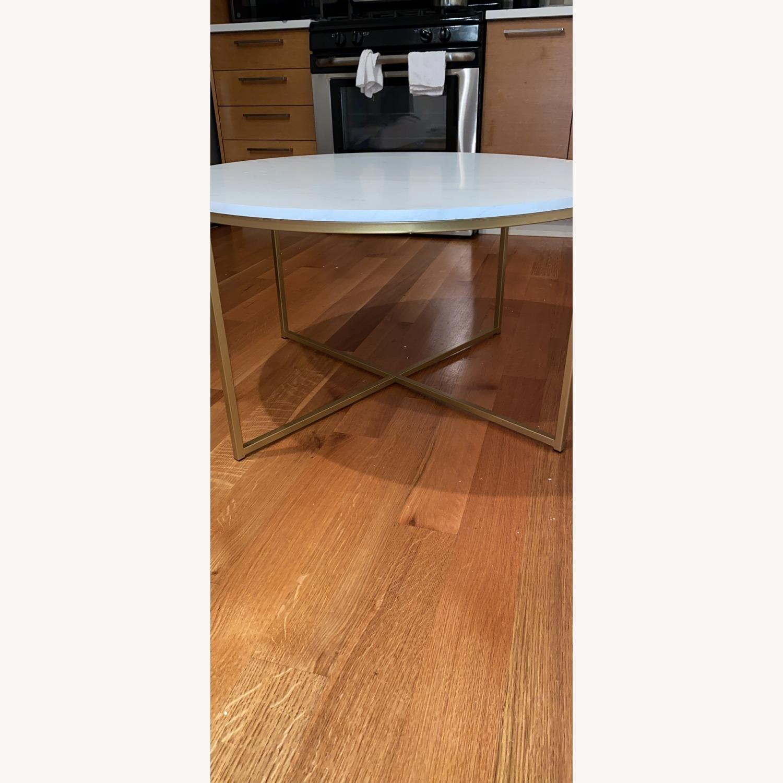 Wayfair White & Gold Cross Legs Coffee Table - image-3