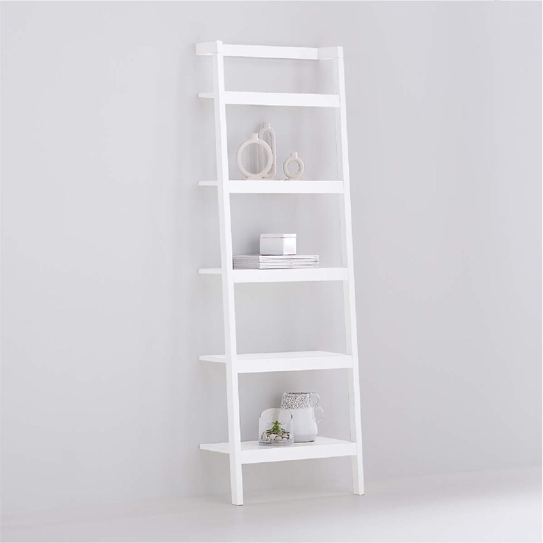 "Crate & Barrel Sawyer White Leaning 24.5"" Bookcase - image-4"