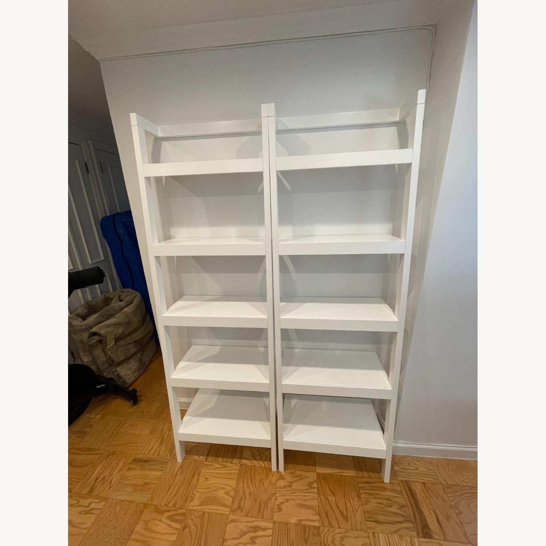 "Crate & Barrel Sawyer White Leaning 24.5"" Bookcase - image-1"