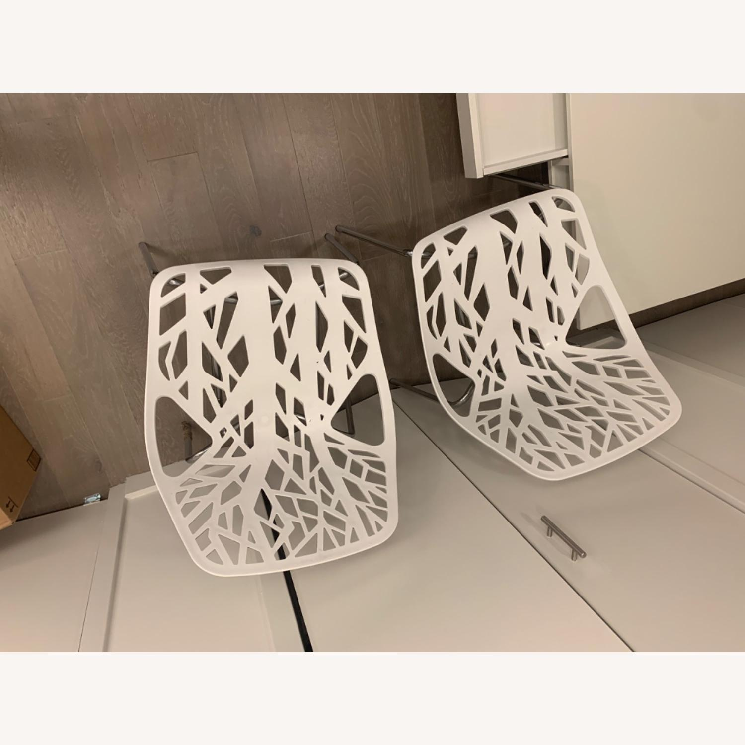EdgeStar Dining Chairs White with Chrome Legs - image-2