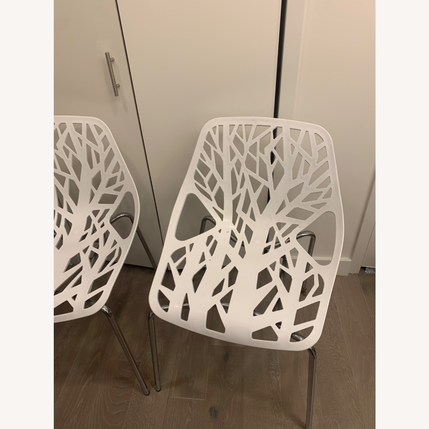 EdgeStar Dining Chairs White with Chrome Legs - image-4