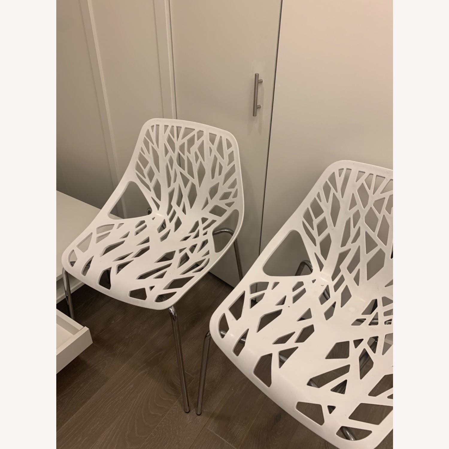 EdgeStar Dining Chairs White with Chrome Legs - image-3