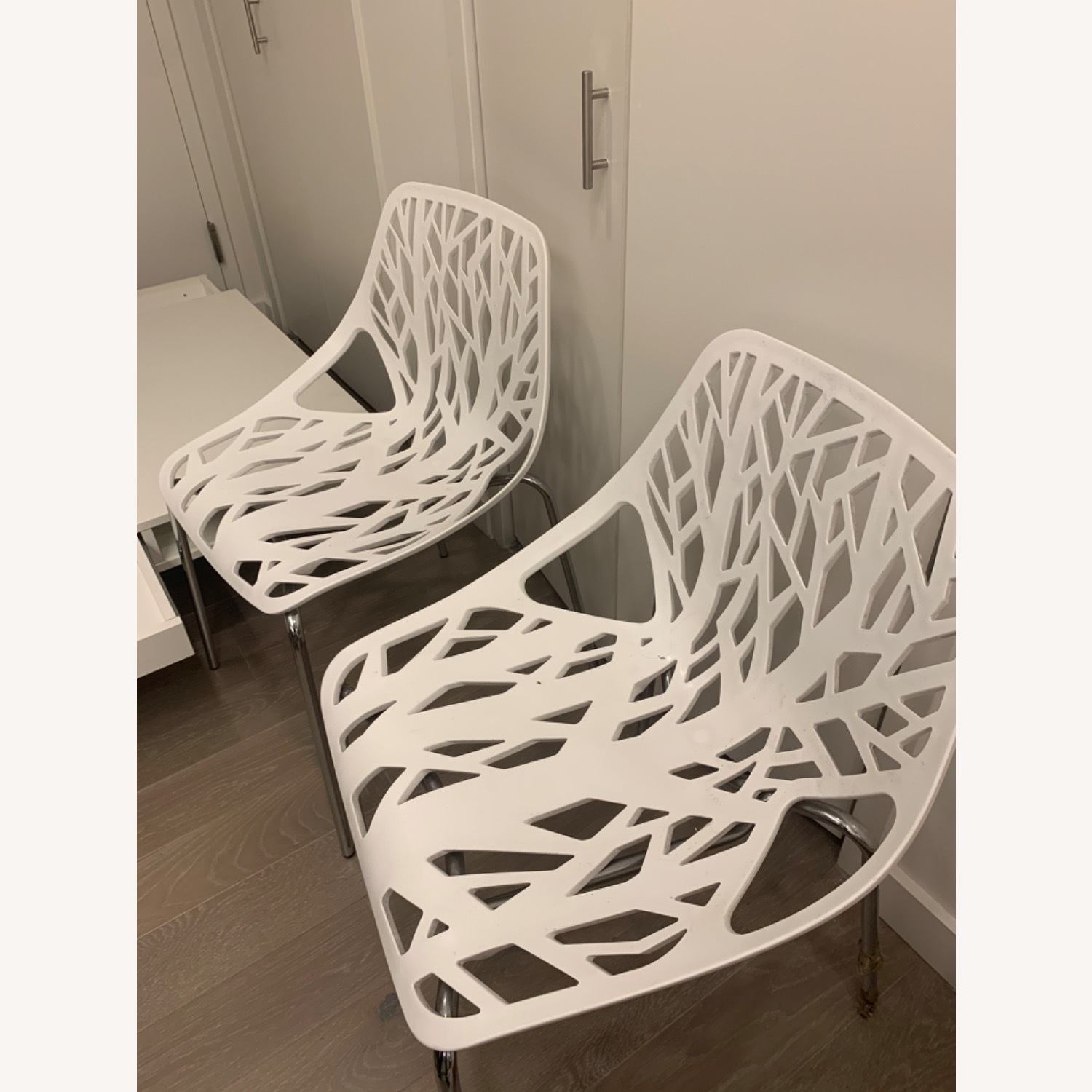 EdgeStar Dining Chairs White with Chrome Legs - image-1