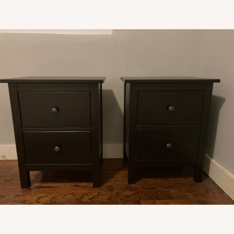IKEA Hemnes Black-Brown Nightstand Pair - image-1