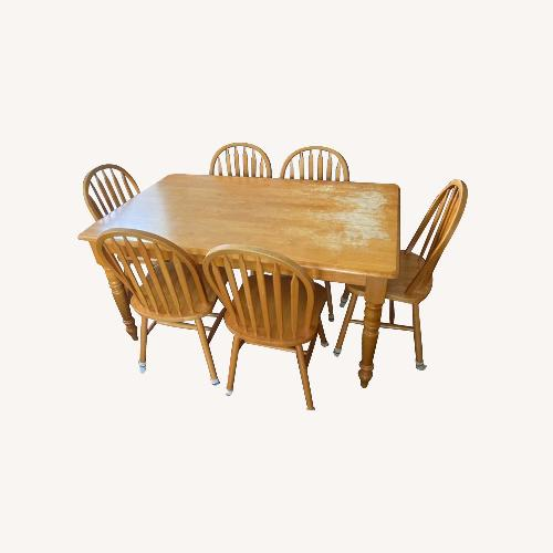 Used Dining Set - Table with 6 Chairs, Honey finish for sale on AptDeco