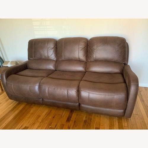 Used Living Spaces Electric Recliner 3 Seater Sofa Faux for sale on AptDeco