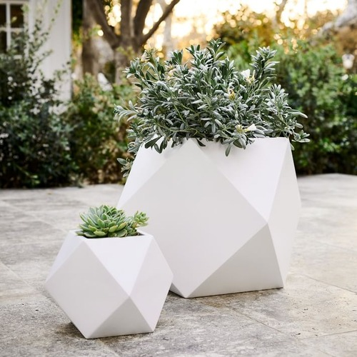 Used West Elm Faceted Modern Planter, White, Large for sale on AptDeco