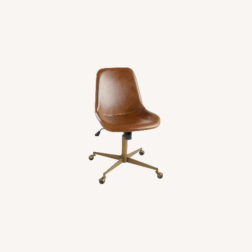 Used World Market Cognac Leather Swivel Office Chair for sale on AptDeco