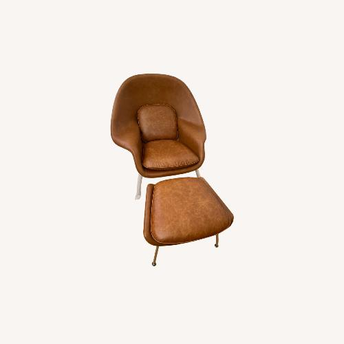 Used Rove Concepts Womb Chair with Ottoman Leather Brown for sale on AptDeco