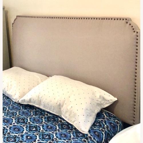 Used Ballard Designs Gray Linen Queen Headbord for sale on AptDeco