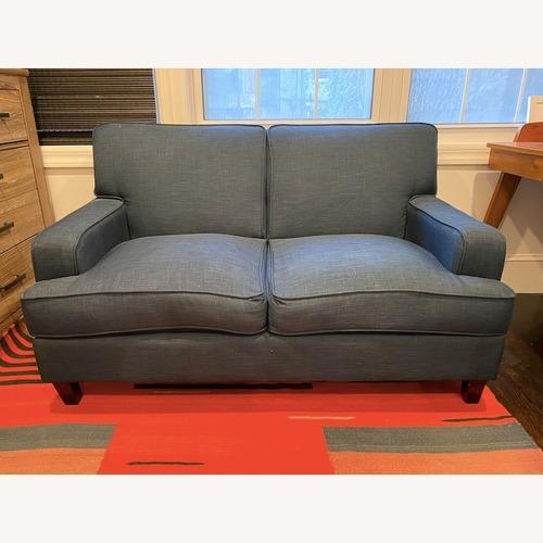Used Blue Linen Fabric Loveseat for sale on AptDeco