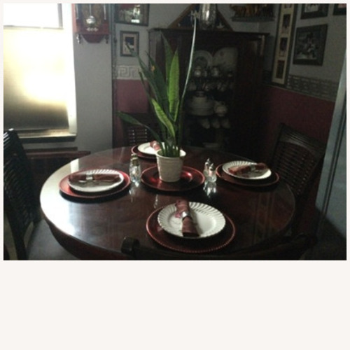 Used Solid Wood Table with Butterfly Leaf and 4 Chairs for sale on AptDeco