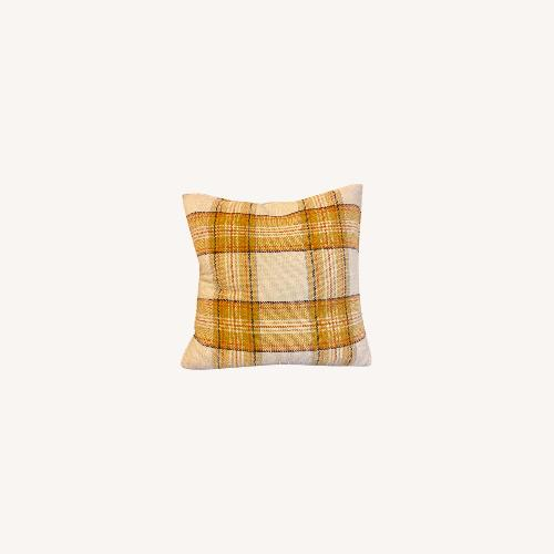 Used Yellow Plaid Down-Filled Accent Pillows for sale on AptDeco