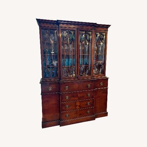 Used Work of Art Wood Inlay Curved Glass China Cabinet for sale on AptDeco