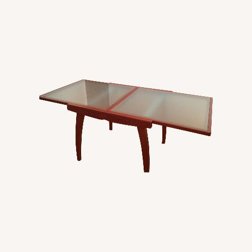 Used Glass and Wood Expandable Dining Table for sale on AptDeco