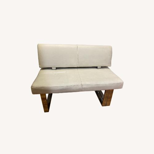 Used White Leather Entryway Bench Loveseat for sale on AptDeco