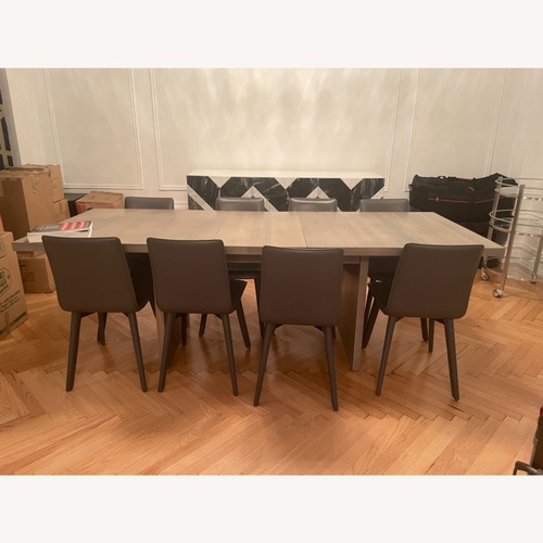 Used Room&Board 8 Grey Leather Dining Chairs for sale on AptDeco