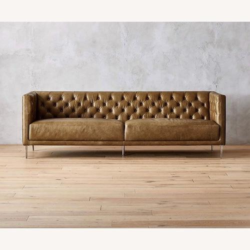 Used CB2 Savile Brown Leather Tufted Sofa for sale on AptDeco