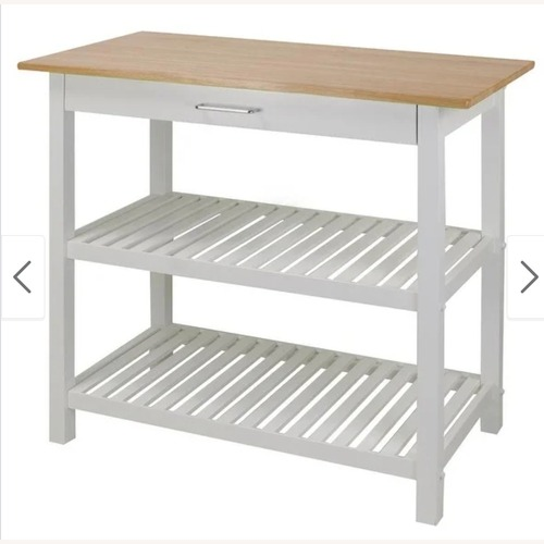 Used 2-shelf Natural Solid Wood Top Kitchen Island for sale on AptDeco