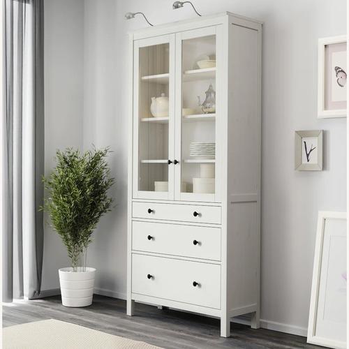 Used IKEA HEMNES Glass-Door Cabinet with 3 Drawers for sale on AptDeco