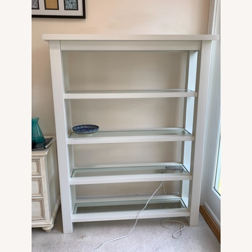 Used Restoration Hardware Wood and Tempered Glass Shelving for sale on AptDeco