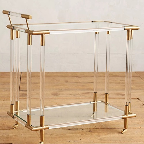 Used Anthropologie Lucite, Glass and Brass Bar Cart for sale on AptDeco