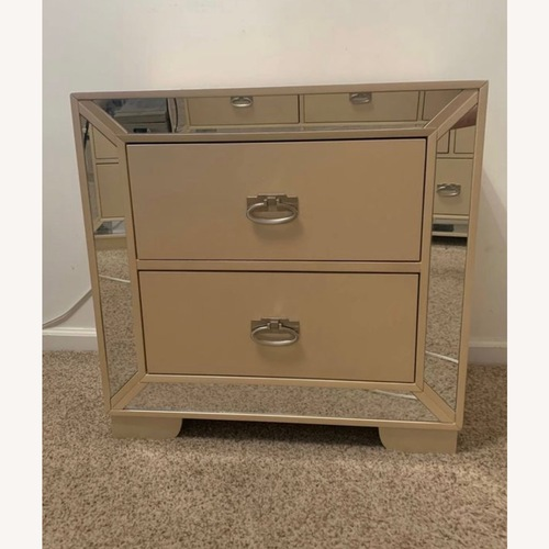 Used Champagne 2 Drawer Nightstand with Mirror Accents for sale on AptDeco