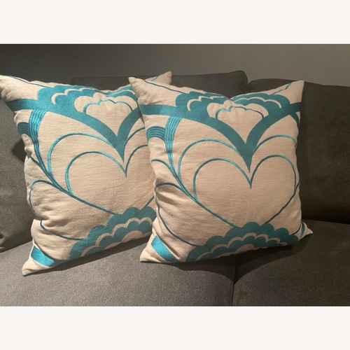 Used Trina Turk Pillows - Teal/Cream for sale on AptDeco