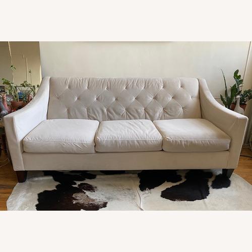 Used Macy's Chloe Velvet Tufted Ivory Sofa for sale on AptDeco