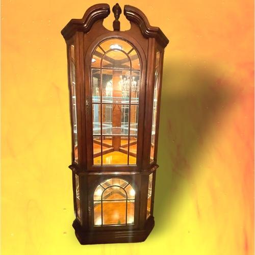 Used Vintage 1970s Corner Cabinet w/ Lights for sale on AptDeco