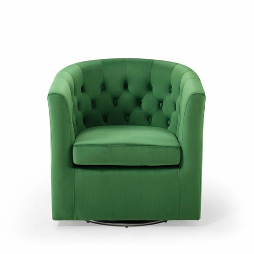 Used Swivel Armchair In Emerald Velvet Fabric Finish for sale on AptDeco